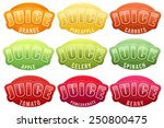 set of labels for various juice.... | Shutterstock .eps vector #250800475