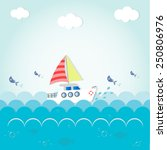 ship sails on the sea greeting... | Shutterstock .eps vector #250806976