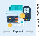card  money  coins and cheque.... | Shutterstock .eps vector #250823872