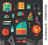 school workspace. set of school ...   Shutterstock .eps vector #250845436