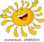 shining yellow smiling sun... | Shutterstock .eps vector #250852015