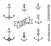 Set Of Seven Lined Anchors In...