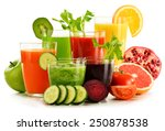 glasses with fresh organic... | Shutterstock . vector #250878538