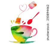 valentine's day tea party | Shutterstock .eps vector #250894462