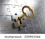 golden key and puzzle  | Shutterstock . vector #250901566