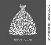 wedding dress. vector floral...   Shutterstock .eps vector #250902142