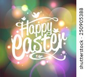 happy easter vector card with... | Shutterstock .eps vector #250905388