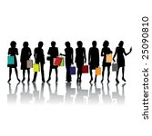 woman shopping silhouettes ... | Shutterstock .eps vector #25090810