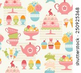 easter pattern with sweets ... | Shutterstock .eps vector #250925368
