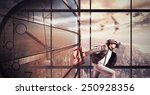 businessman late runs quickly... | Shutterstock . vector #250928356