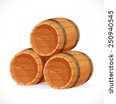 Wooden Barrels Isolated On...