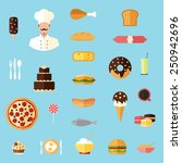 food colorful flat design icons ... | Shutterstock .eps vector #250942696