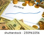 Small photo of chart of airfare going up with gold and money