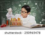 portrait of little scientist... | Shutterstock . vector #250965478