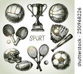 hand drawn sports set. sketch...