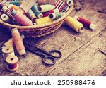 scissors  bobbins with thread... | Shutterstock . vector #250988476
