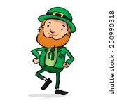 cute leprechaun dancing a jig.... | Shutterstock .eps vector #250990318