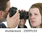 girl looks into lens of a...   Shutterstock . vector #25099153