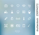 medical line icon set with blur ...   Shutterstock .eps vector #250994572
