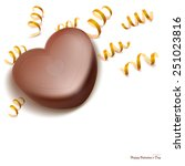 chocolate heart shape with... | Shutterstock .eps vector #251023816