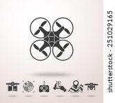 drone icon with shadow  and set ... | Shutterstock .eps vector #251029165