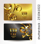 vip gold cards with floral... | Shutterstock .eps vector #251061022