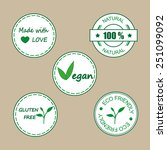 labels for organic products and ... | Shutterstock .eps vector #251099092