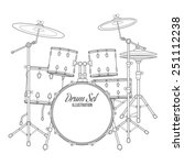Vector Dark Outline Drum Set O...