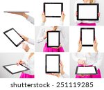 woman holding tablet computer ... | Shutterstock . vector #251119285