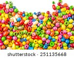 Colorful Wooden Beads On White...