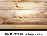 empty shelf on wooden wall... | Shutterstock . vector #251177086