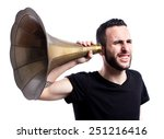 young man with a huge hearing... | Shutterstock . vector #251216416