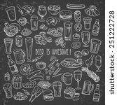 sketchy beer and snacks  vector ... | Shutterstock .eps vector #251222728