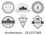 set of vintage summer camp... | Shutterstock .eps vector #251227585