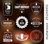 set of black monochrome beer...   Shutterstock .eps vector #251243452