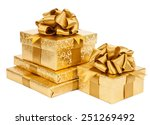 Gold Gift Box Isolated On Whit...