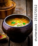 Small photo of shchi, traditional Russian soup from cabbage. style rustic. selective focus