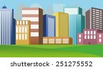 Colourful  Vector City Buildings