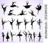 set of female silhouettes of... | Shutterstock .eps vector #251284102