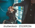robber with a gun threatening...   Shutterstock . vector #251309236