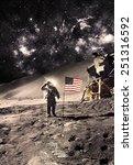 Vintage Astronaut Flag Moon Elements - Fine Art prints