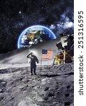 Astronaut Flag Moon Elements Nasa - Fine Art prints