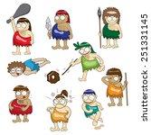 stone age people cartoon vector | Shutterstock .eps vector #251331145