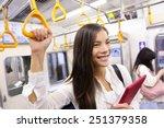 subway commuter woman on... | Shutterstock . vector #251379358