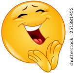 cheerful emoticon clapping | Shutterstock .eps vector #251381452