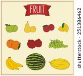 collection of fruits isolated  | Shutterstock .eps vector #251386462