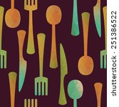 seamless kitchen pattern with... | Shutterstock . vector #251386522