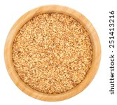 golden flax seeds in wooden... | Shutterstock . vector #251413216