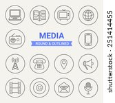 set of round and outlined media ... | Shutterstock .eps vector #251414455