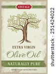 olive oil vintage label with... | Shutterstock .eps vector #251424022